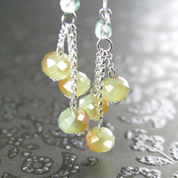 Opal Mint Green Earrings Sterling Silver Milky Pale Green and Amber Aurora Crystal Earrings Mint Green Dangle Earrings