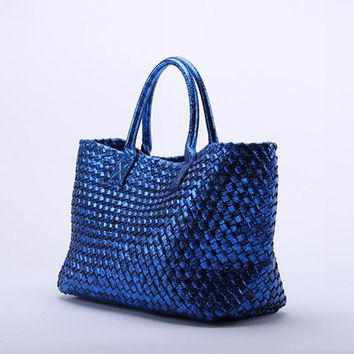Luxury Weaving Women Bag\Handbag 2017 New Leather Ms.  Fashion Commuter OL Snake Tote Shoulder bag shopping bag~Star models~16B2