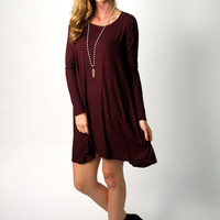 Karlee Striped Long Sleeve Swing Dress: Burgundy