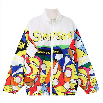 White The Simpsons Print Jacket
