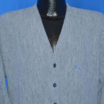 70s Gray Acrylic Cardigan Sweater Large