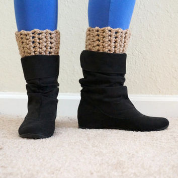 crochet boot cuffs, wool boot toppers, boot socks, wool leg warmers, short boot cuff, chunky boot cuffs, leg cuffs / THE COREN / Barley