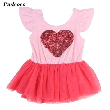 One Pieced Heart Printed Girl Party Dress Summer 2017 Tulle Wedding Birthday Princess Dress Girl Dresses Children Clothing dress