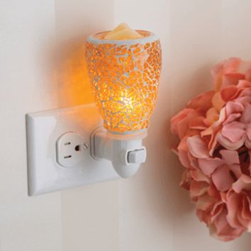 Crackled Amber Glass Plug-in Warmer