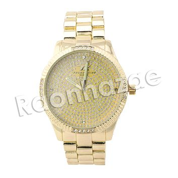 HIP HOP ICED OUT RAONHAZAE JEEZY LUXURY GOLD FINISHED LAB DIAMOND WATCH