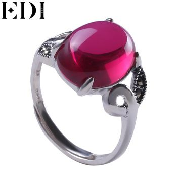 EDI 925 Sterling Silver Rings Vintage Pink Gemstone  Channel Setting Engagement Ring Silver 925 jewelry Garnet Rings women Gifts