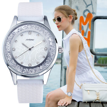 Wrist watches silicone casual with crystals