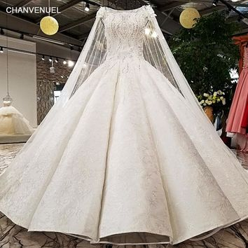 LS96410 super big puffy wedding dress long cape bruiloft off white color zipper back OEM accepted wedding gown dress lovely girl