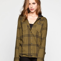 Hurley Wilson Womens Hooded Shirt Olive  In Sizes