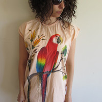 Awesome Vintage 70s Hand Painted Tropical Parrot Peach Shirt Nightgown