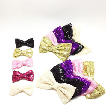 Mini Sequence Bow - So Fancy Collection - pink, ivory, gold, black, hot pink. baby shower gift, baby birthday headband, baby photo prop, bab