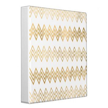 Elegant gold faux leaf chevron pattern vinyl binder