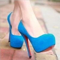 Great Gift pu best quality slip on high heel women's spring summer new platform wedding shoes 4 colors nightclub y pumps Alternative Measures