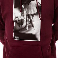 Estevan Oriol Hoody LA Fingers Pullover Fleece in Burgundy