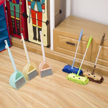 Baby mini sweeping house cleaning toys set child mop broom dustpan set telescopic tablet drag pretend play