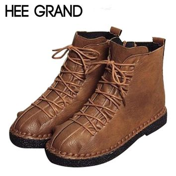 HEE GRAND Women Shoes Lace-up with Woman Winter Fashion Boots