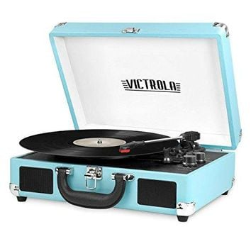 Innovative Technology - Victrola Vintage 3-Speed Bluetooth Suitcase Turntable with Speakers, Turquoise