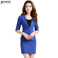 2015 fashion summer women business suit skirt formal office suits  work size plus OL blazer and skirt for ladies 4 color S-XXXL