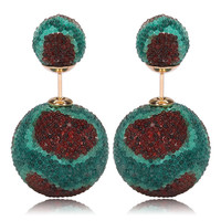 Italian Import Gum Tee Mise en Style Tribal Double Bead Earrings - Micro Bead Burgundy Aqua Design