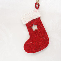 Christmas Decoration, Christmas Tree Decoration, Wooden Decoration, Stocking, Hanging, Festive, Holidays, Star, Glitter, Red, White