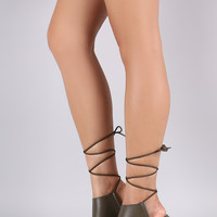 Liliana Open Toe Lace-Up Chunky Heel