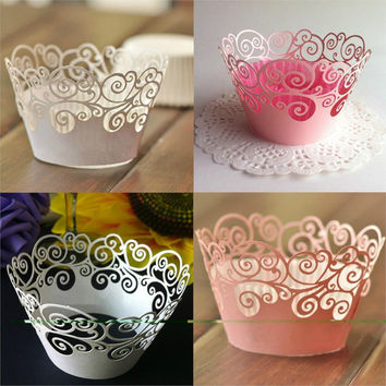 New 12Pcs/set Vine Filigree Cupcake Laser Cut Clouds Design Cake Paper Wrapper Muffin Wrap Surround Edge Birthday Party Decor