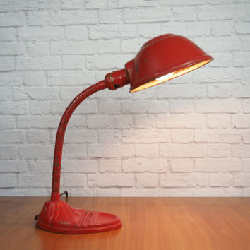 Vintage Industrial Gooseneck Lamp / Antique Art Deco Desk Lamp Red / Vintage Office Decor
