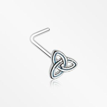Triquetra Trinity Knot L-Shaped Nose Ring