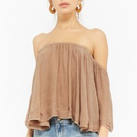 Heathered Gauze Off-the -Shoulder Top