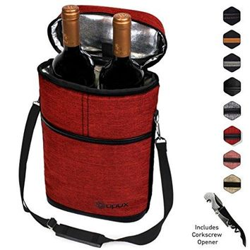 Premium Insulated 2 Bottle Wine Carrier Tote Bag | Wine Travel Bag with Shoulder Strap Padded Protection and Corkscrew Opener | Wine Cooler Bag