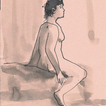 BLUE DREAMS nude study life drawing ink beautiful woman portrait original artwork unique handmade gift for boyfriend girlfriend man husband