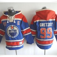 Hoodies Jerseys  ICE Hockey Oilers #99 Gretzky Blue Best quality stitching Jerseys Sports jersey