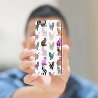 Girly Whimsical Cats aztec floral stripes pattern iPhone 6 case by Girly Trend | Casetify