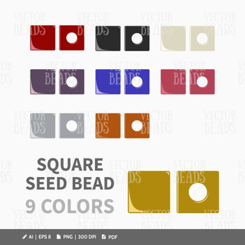 Miyuki Square Beads Vector Graphic - Vector Illustration of Seed Beads
