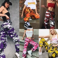 2018 6 Colors Fashin Womens Camo Cargo Trousers Casual Pants Military Army Combat Camouflage Jeans Sports Pants