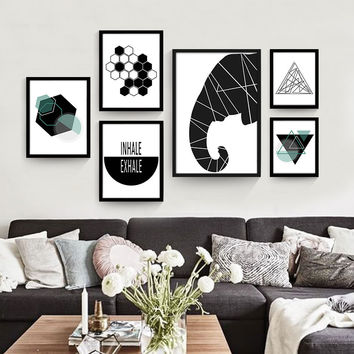 Geometric abstract modern living room canvas poster decorative painting murals painted personalized creative wall paintings