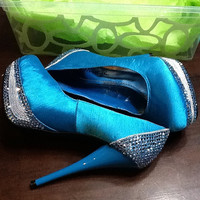 Blue wedding shoes, Blue Swarovski High Heels, Wedding Bridal pumps, Prom heels