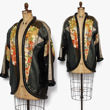Vintage 80s LEATHER JACKET / 1980s Avant Garde Embroidered Kimono & Leather Oversized Coat