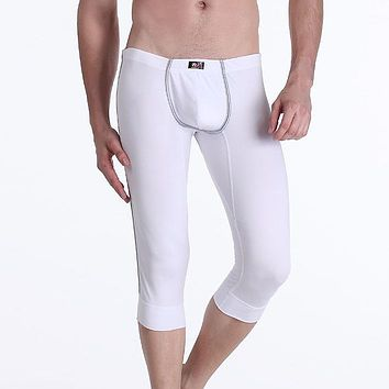 Winter Male cotton Thermal Underwear warm underpants tight Short Underwear Sexy Mens soild color Cropped Long Johns