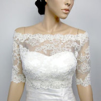 Off Shoulder Alencon Lace Wedding Bolero Shrug Bridal Jacket for Bride Accessory