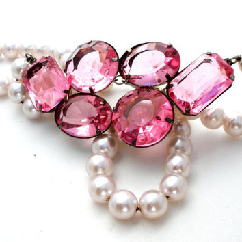Pink Rhinestone Necklace, Vintage Pearls, Rockabilly Jewelry, Fashion Jewellery, Wedding Bridal
