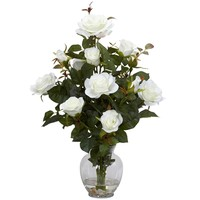 SheilaShrubs.com: White Rose Bush w/Vase Silk Flower Arrangement 1281-WH by Nearly Natural : Artificial Flowers & Plants