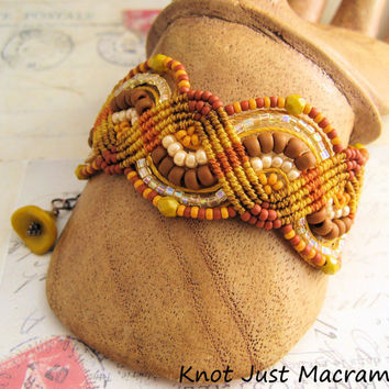 Mustard, Ginger, Nutmeg Beaded Macrame Bracelet Gorgeous Fall Palette