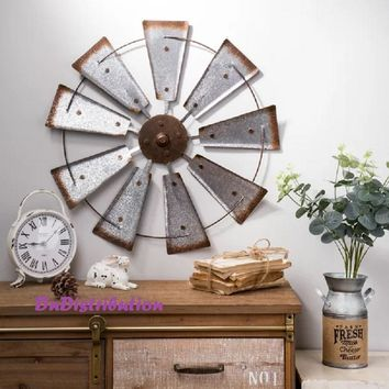 Windmill Wall Sculpture Spinner Rustic Metal Galvanized Farmhouse Style Decor