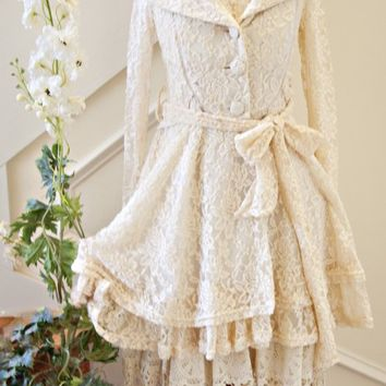 Stunning Women's Shabby Chic Lace Fall Coat Amazing for Family Portraits! - Ryu Clothing for Women