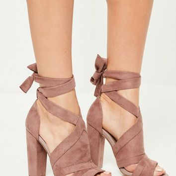 Missguided - Pink Vamp Tie Detail Block Heeled Sandals