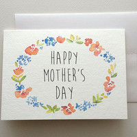 Mothers Day Watercolor Painting Greeting Card - Floral