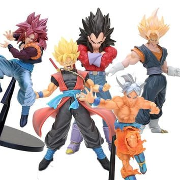 6 Pcs/set Big Size Dragon Ball Z Goku Gohan Vegeta Broly Frizza Super Saiya Cute God Action Figure Dbz Pvc Model Toy 10-12cm Handsome Appearance Toys & Hobbies