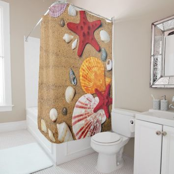 sand and shells shower curtain