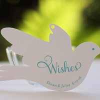 Wedding Wish Tags, Personalized Love Bird Advice Cards for Baptisms or Graduations, Dove Favor Tags - Set of 20